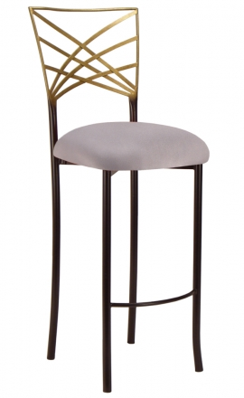 Two Tone Gold Fanfare Barstool with Silver Stretch Knit Cushion (2)