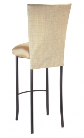 Parchment Linette 3/4 Barstool Cover with Toffee Stretch Knit cushion on Brown Legs (1)