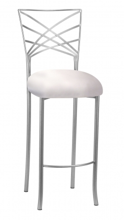 Silver Fanfare Barstool with Platinum Satin Cushion (2)