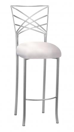 Silver Fanfare Barstool with Platinum Satin Cushion (2)