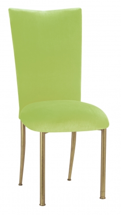 Lime Green Velvet Chair Cover and Cushion on Gold Legs (2)