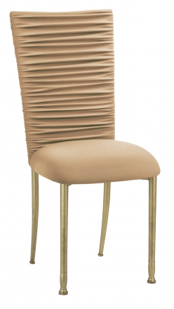Chloe Beige Stretch Knit Chair Cover and Cushion on Gold Legs (2)