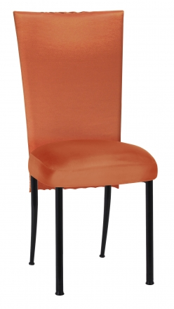 Orange Taffeta Scales 3/4 Chair Cover with Boxed Cushion on Black Legs (2)