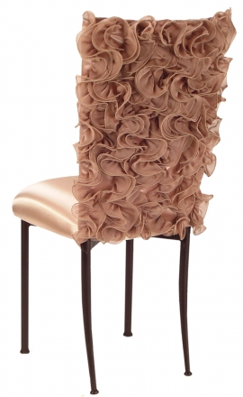 Ruffles with Blush Isabella Chair Cover and Blush Cushion on Brown Legs (1)
