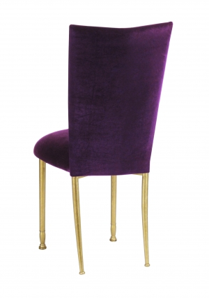 Eggplant Velvet Chair Cover and Cushion on Gold Legs (1)