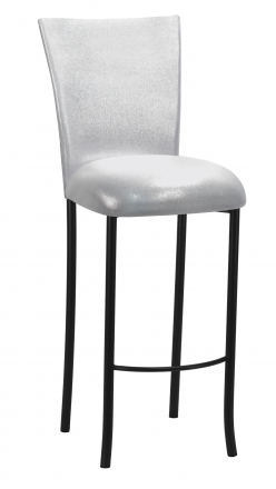 Metallic Silver Stretch Knit Barstool Cover and Cushion on Black Legs (2)