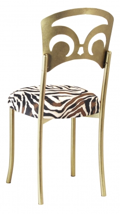 Gold Fleur de Lis with Zebra Stretch Knit Cushion (1)