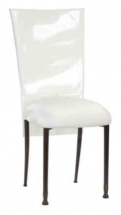 White Patent Chair Cover and Rhinestone Belt with White Stretch Knit Cushion on Mahogany Legs (2)