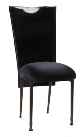 Black Patent 3/4 Chair Cover with Black Stretch Knit Cushion on Mahogany Legs (2)