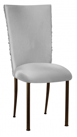 Silver Demure Chair Cover with Jewel Band and Silver Stretch Knit Cushion on Brown Legs (2)