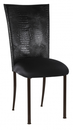 Black Croc Chair Cover and Black Stretch Knit Cushion on Brown Legs (2)