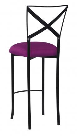 Blak. Barstool with Orchid Taffeta Boxed Cushion (1)