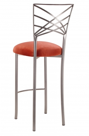 Silver Fanfare Barstool with Paprika Velvet Cushion (1)