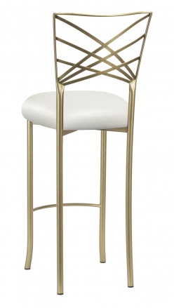 Gold Fanfare Barstool with White Leatherette Cushion (1)