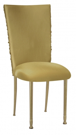 Gold Demure Chair Cover with Gold Stretch Knit Cushion on Gold Legs (2)