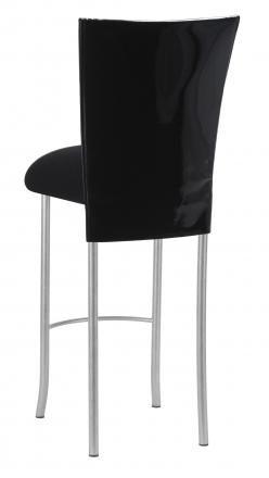 Black Patent Barstool Cover with Black Velvet Cushion on Silver Legs (1)