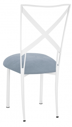 Simply X White with Ice Blue Suede Cushion (1)