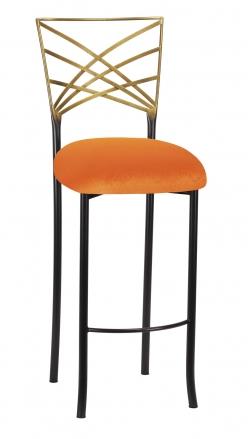 Two Tone Fanfare Barstool with Orange Velvet Cushion (2)