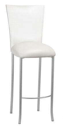 White Leatherette Barstool Cover and Cushion on Silver Legs (2)