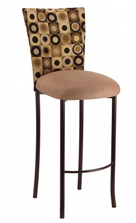 Concentric Circle Chair Cover with Camel Suede Cushion on Brown Legs (2)