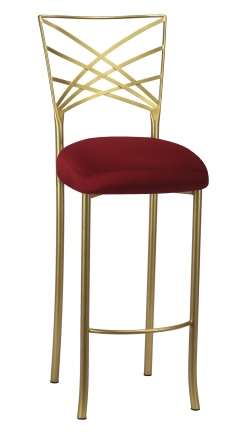 Gold Fanfare Barstool with Cranberry Stretch Knit Cushion (2)