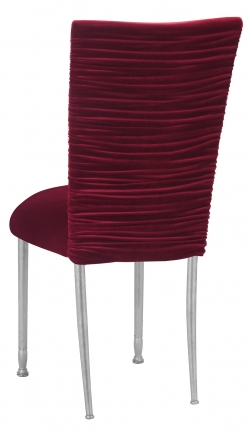 Chloe Cranberry Velvet Chair Cover and Cushion on Silver Legs (1)