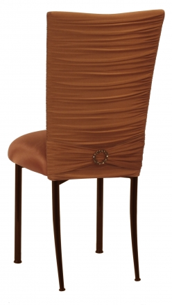 Chloe Copper Stretch Knit Chair Cover with Jewel Belt and Cushion on Brown Legs (1)
