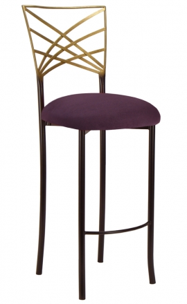 Two Tone Gold Fanfare Barstool with Lilac Suede Cushion (2)