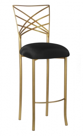 Gold Fanfare Barstool with Black Stretch Knit Cushion (2)