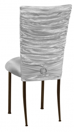 Silver Demure Chair Cover with Jewel Band and Silver Stretch Knit Cushion on Brown Legs (1)