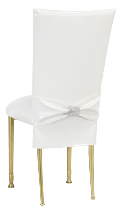 White Patent Chair Cover and Rhinestone Belt with White Stretch Knit Cushion on Gold Legs (1)