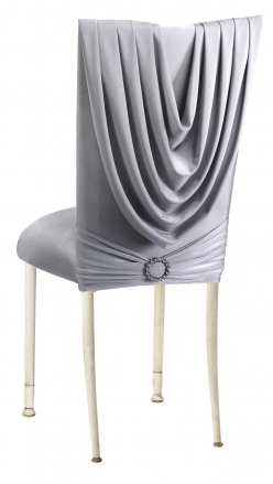 Silver Cowl with Jeweled Band and Silver Stretch Knit Cushion on Ivory Legs (1)