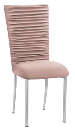 Chloe Blush Stretch Knit Chair Cover and Cushion on Silver Legs (2)