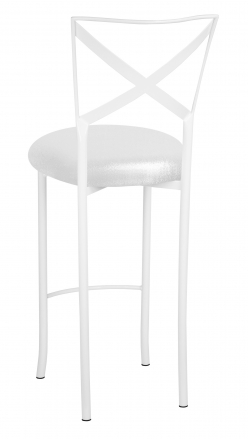 Simply X White Barstool with Metallic White Foil Stretch Knit Cushion (1)