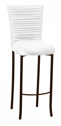 Chloe White Stretch Knit Barstool Cover with Rhinestone Accent Band and Cushion on Brown Legs (2)