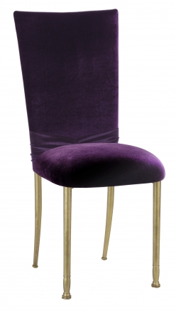 Deep Purple Velvet Chair Cover with Rhinestone Accent and Cushion on Gold Legs (2)