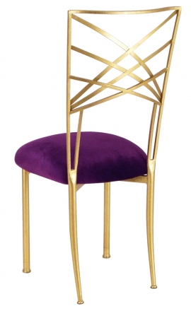 Gold Fanfare with Deep Purple Velvet Cushion (1)
