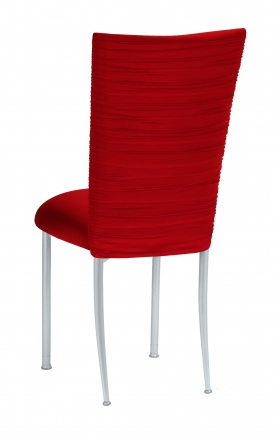 Chloe Red Stretch Knit Chair Cover and Cushion on Silver Legs (1)