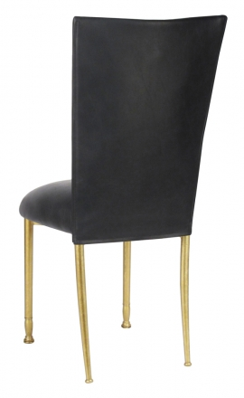 Black Leatherette Chair Cover and Cushion on Gold Legs (1)