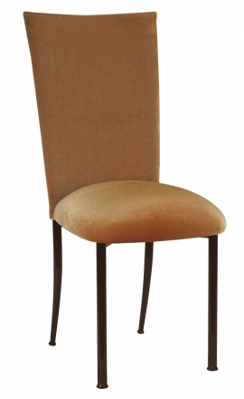 Gold Velvet Chair Cover and Cushion on Brown legs (2)