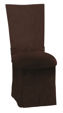 Chocolate Suede Chair Cover with Jewel Belt, Cushion and Skirt (2)