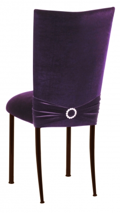 Deep Purple Velvet Chair Cover with Jewel Band and Cushion on Brown Legs (1)