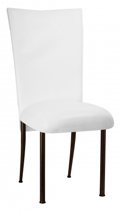 White Tiered Leatherette Chair Cover and Cushion on Brown Legs (2)