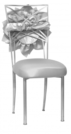 Silver Bridal Bloom with Silver Satin Boxed Cushion on Silver Legs (2)