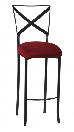 Blak. Barstool with Burnt Red Dupioni Boxed Cushion (2)