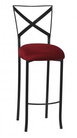 Blak. Barstool with Burnt Red Dupioni Boxed Cushion (2)