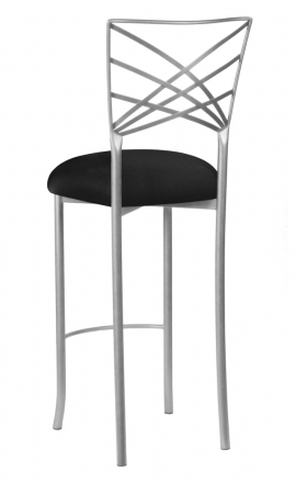 Silver Fanfare Barstool with Black Stretch Knit Cushion (1)