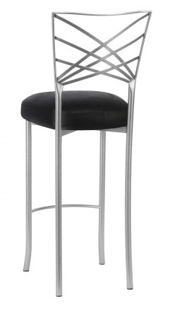 Silver Fanfare Barstool with Black Leatherette Boxed Cushion (1)