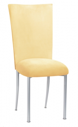 Buttercup Suede Chair Cover and Cushion on Silver Legs (2)