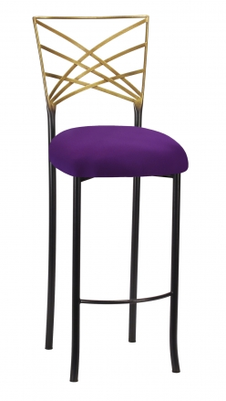 Two Tone Fanfare Barstool with Plum Knit Cushion (2)